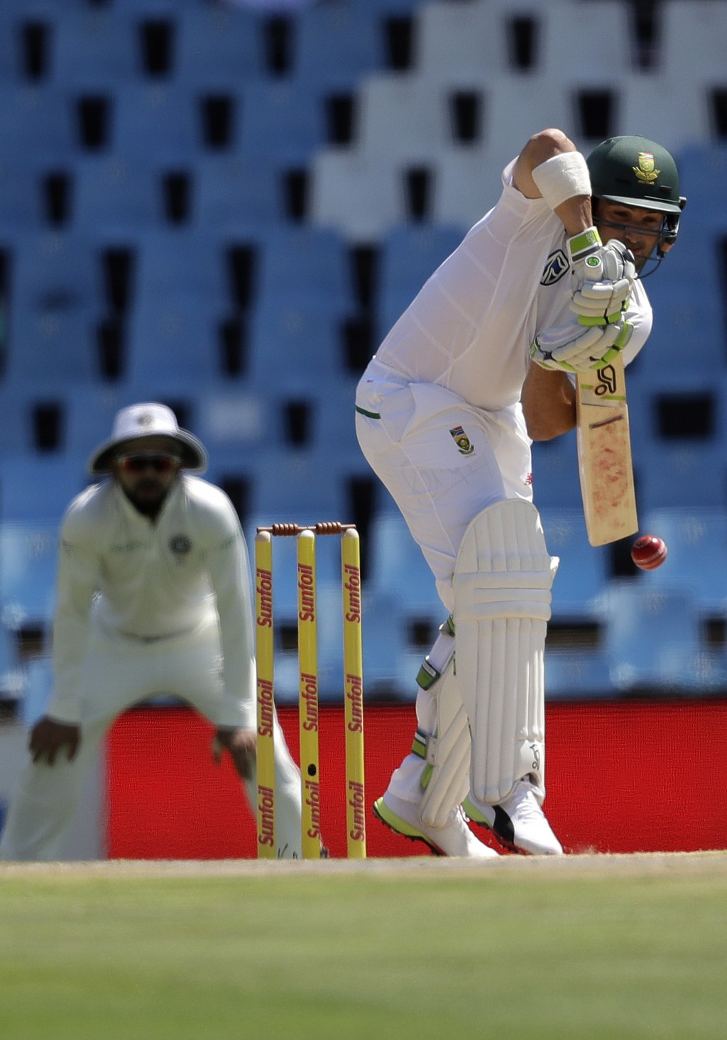 South Africa's Dean Elgar, plays a shot during the first day of the second cricket test match between South Africa and India at Centurion Park in Pret