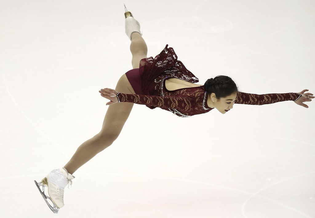 FILE - In this Jan. 3, 2018, file photo, Mirai Nagasu performs during the women's short program at the U.S. Figure Skating Championships in San Jose,