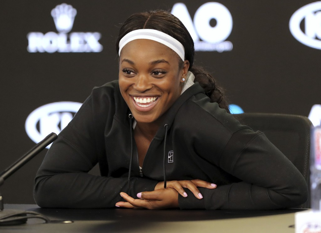 United States' Sloane Stephens smiles during a press conference at the Australian Open tennis championships in Melbourne, Australia, Saturday, Jan. 13