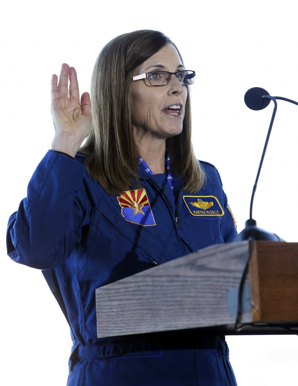 U.S. Rep. Martha McSally, R-Ariz., speaks at a rally, Friday, Jan. 12, 2018, in Tucson, Ariz. McSally announced Friday that she is running for the U.S