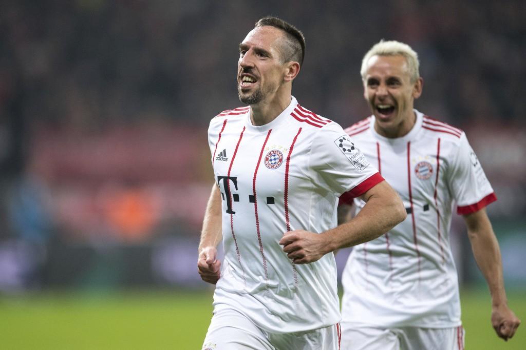 Bayern's goal scorer Franck Rib'ry, left, and Rafinha celebrate scoring the second goal of the game against Leverkusen during the German Bundesliga so