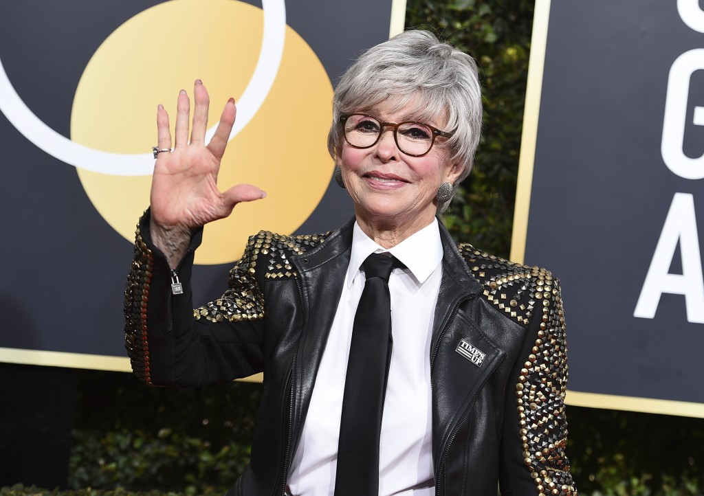 Rita Moreno arrives at the 75th annual Golden Globe Awards at the Beverly Hilton Hotel on Sunday, Jan. 7, 2018, in Beverly Hills, Calif. (Photo by Jor