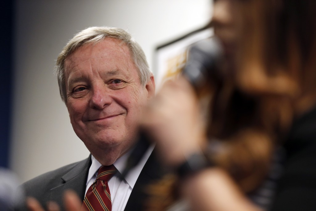 Sen. Dick Durbin, D-Ill., is introduced as he speaks to students of Year Up Chicago, a one-year long job training program that provides low-income you