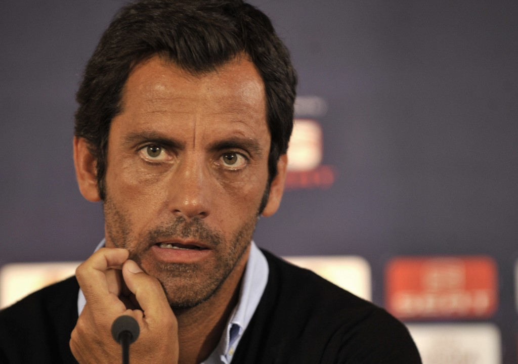 FILE - In this Wednesday Sept. 15, 2010 file photo, Atletico's head coach Quique Sanchez Flores attends a news conference at the Kleanthis Vikelidis s