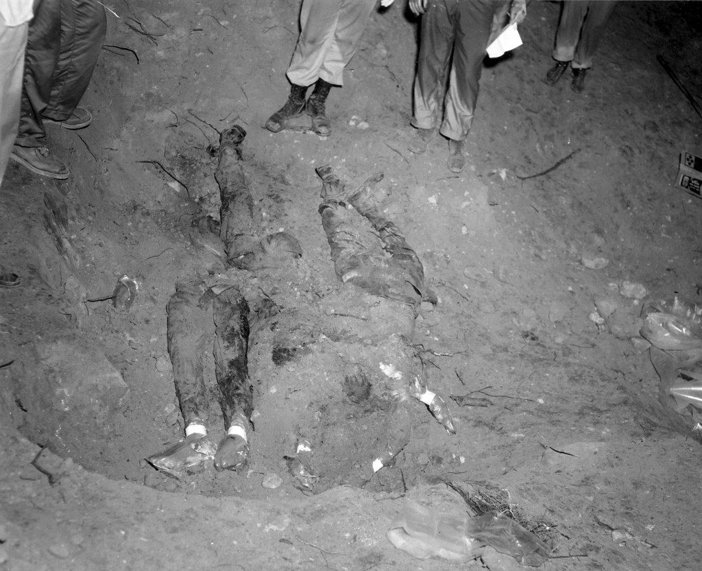FILE-In this 1964 file photo released by the FBI, the bodies of three civil rights workers are uncovered from an earthen dam southwest of Philadelphia