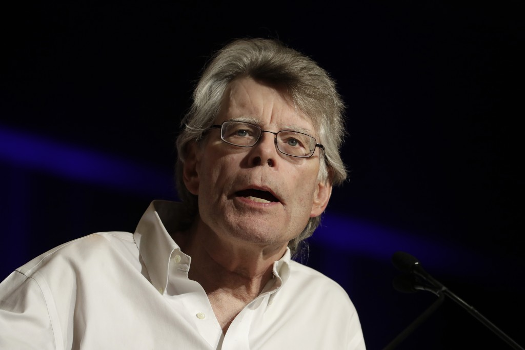 File-This June 1, 2017, file photo, author Stephen King speaks at Book Expo America in New York. There's a whiff of horror about PEN America's new Lit
