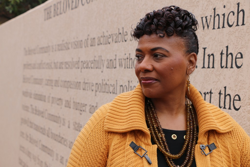 Bernice King, the daughter of the Rev. Martin Luther King, Jr., is seen outside of The Martin Luther King Jr. Center for Nonviolent Social Change in A
