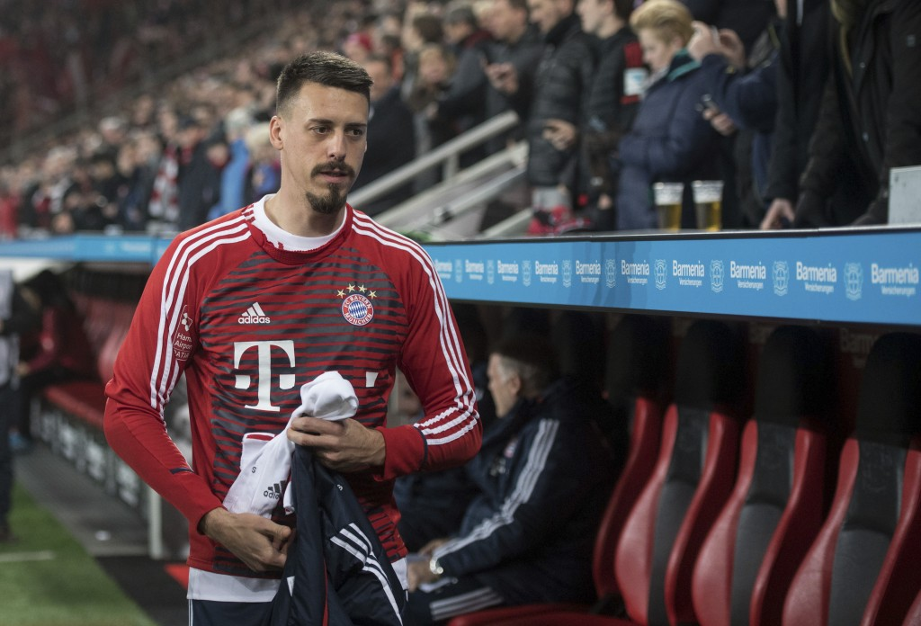Bayern's recent addition Sandro Wagner is assigned to the bench to begin with during the German Bundesliga soccer match between Bayer Leverkusen and B
