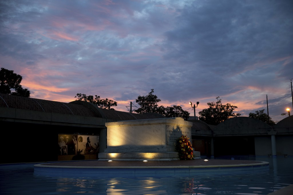 FILE- In this Monday, Jan. 16, 2017, file photo, the tomb of Martin Luther King Jr., and his wife Coretta Scott King is seen as the sun sets, in Atlan