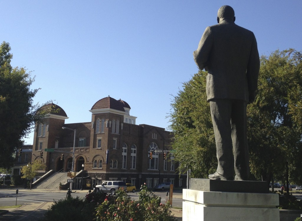 FILE - In this Oct. 15, 2015, file photo, a statue of Rev. Martin Luther King, Jr. overlooks the 16th Street Baptist Church in Birmingham, Ala., where