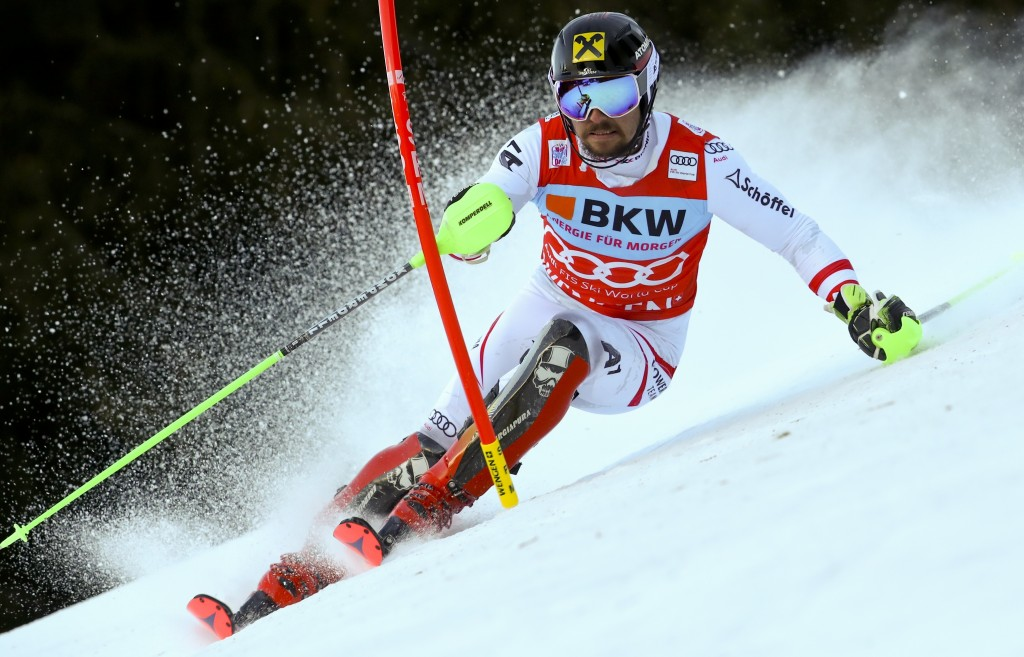 Austria's Marcel Hirscher speeds down the course during an alpine ski, men's World Cup slalom in Wengen, Switzerland, Sunday, Jan. 14, 2018. (AP Photo