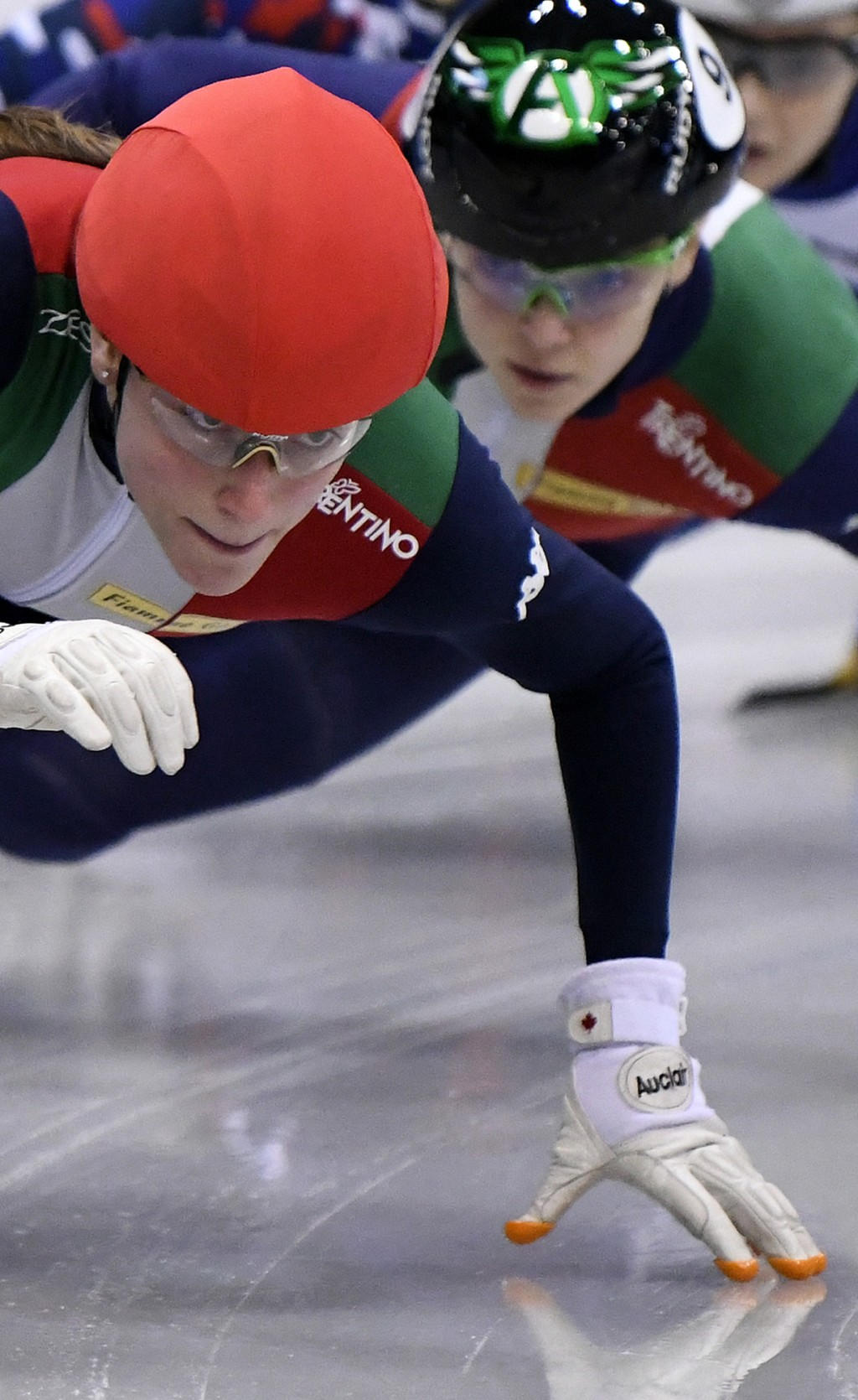 Winner Martina Valcepina of Italy, left, competes in front of 2nd placed Arianna Fontana of Italy, right, during the women's 500 meters final race at