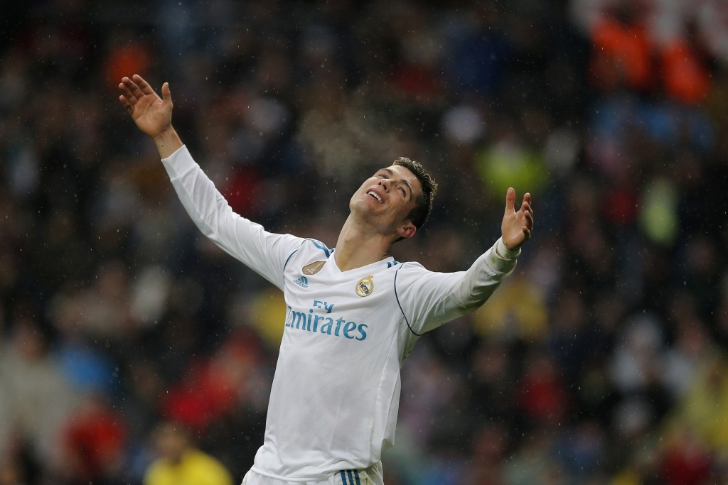 Real Madrid's Cristiano Ronaldo reacts during a Spanish La Liga soccer match between Real Madrid and Villarreal at the Santiago Bernabeu stadium in Ma