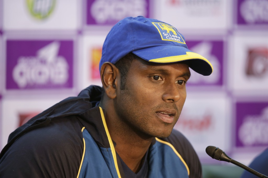 Sri Lanka's cricket team captain Angelo Mathews speaks during a press conference ahead of the Tri-Nation one-day international cricket series in Dhaka