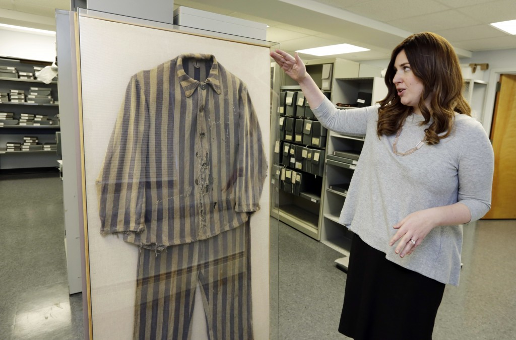 In this Wednesday, Jan. 10, 2018 photo, Director of Collections Shoshana Greenwald at the Amud Aish Memorial Museum, in Brooklyn, N.Y., talks about th