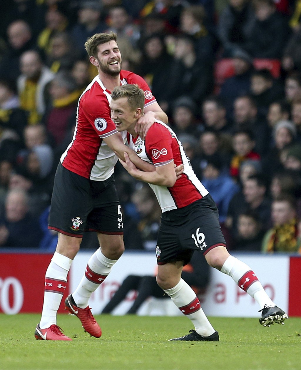 Southampton's James Ward-Prowse, right, celebrates scoring his side's first goal of the game with teammate Jack Stephens during the English Premier Le