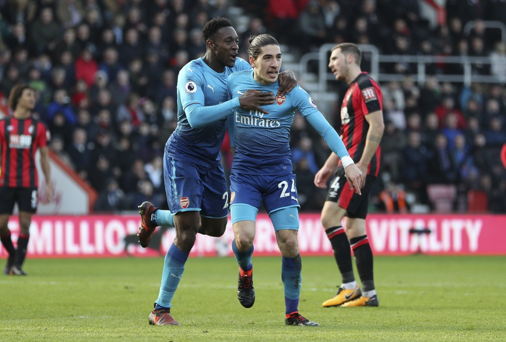 Arsenal's Hector Bellerin celebrates scoring their first goal of the game against Bournemouth, during their English Premier League soccer match at the