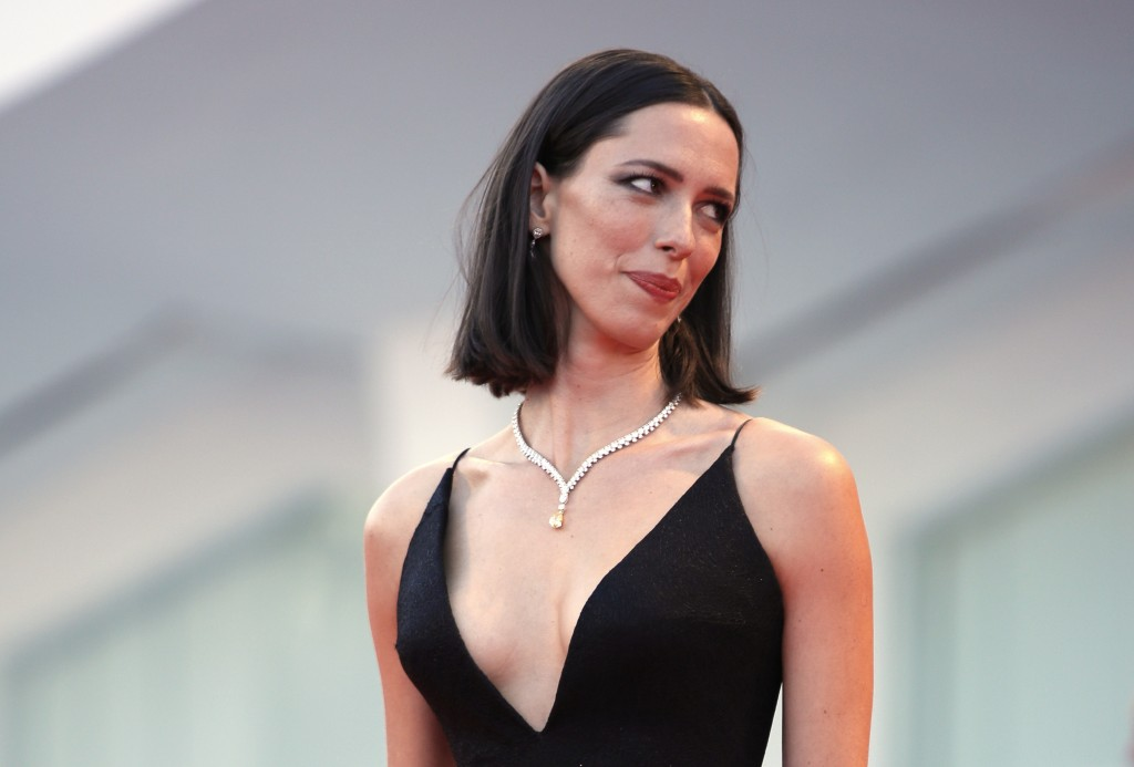 FILE - In this Sept. 5, 2017 file photo, actress Rebecca Hall poses for photographers at the premiere of the film 'mother!' at the 74th edition of the