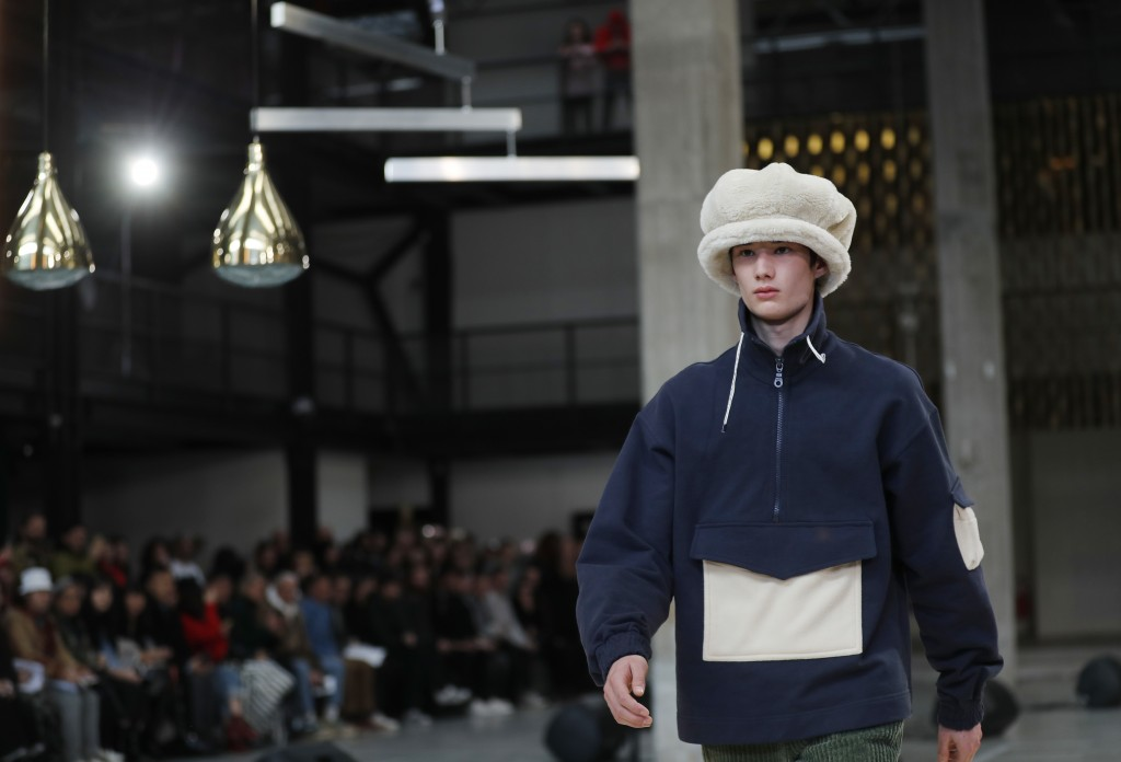 A model wears a creation as part of the Sunnei men's Fall-Winter 2018-19 collection, presented in Milan, Italy, Sunday, Jan.14, 2018. (AP Photo/Antoni