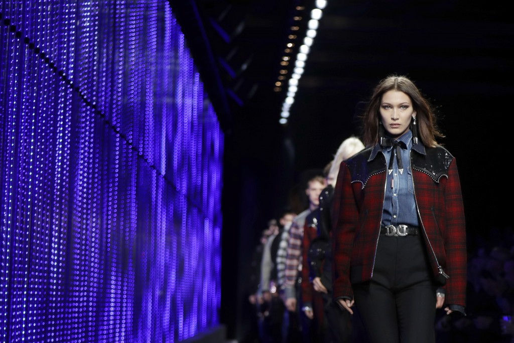 Model Bella Hadid wears a creation as part of the Dsquared2 men's Fall-Winter 2018-19 collection, that was presented in Milan, Italy, Sunday, Jan.14,