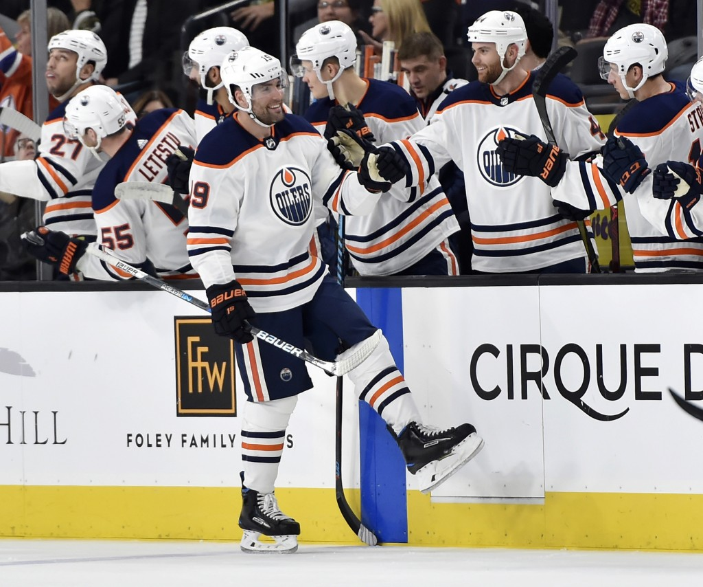 Edmonton Oilers left wing Patrick Maroon (19) celebrates with his teammates after scoring a goal against the Vegas Golden Knights during the second pe