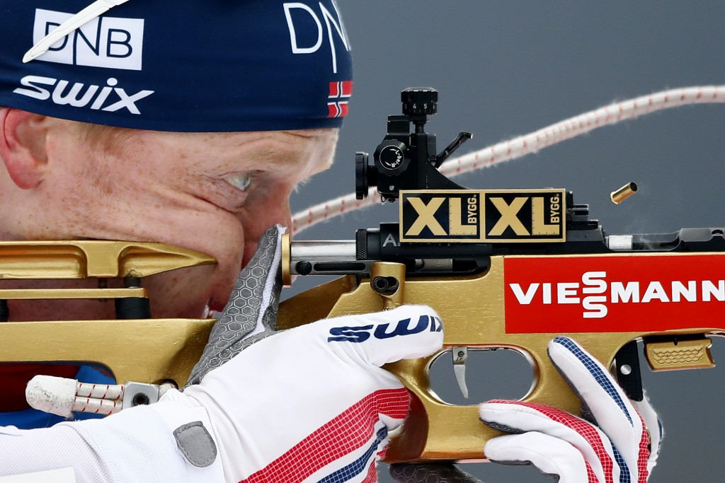 Johannes Thingnes Boe of Norway shoots during the men's 15km mass start competition at the biathlon World Cup in Ruhpolding, Germany, Sunday, Jan. 14,