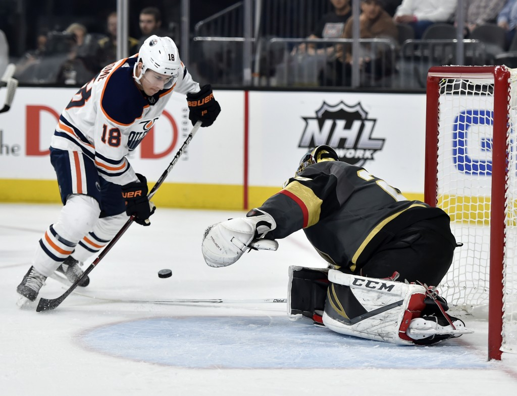 Edmonton Oilers center Ryan Strome (18) shoots against Vegas Golden Knights goalie Marc-Andre Fleury during the first period of an NHL hockey game Sat