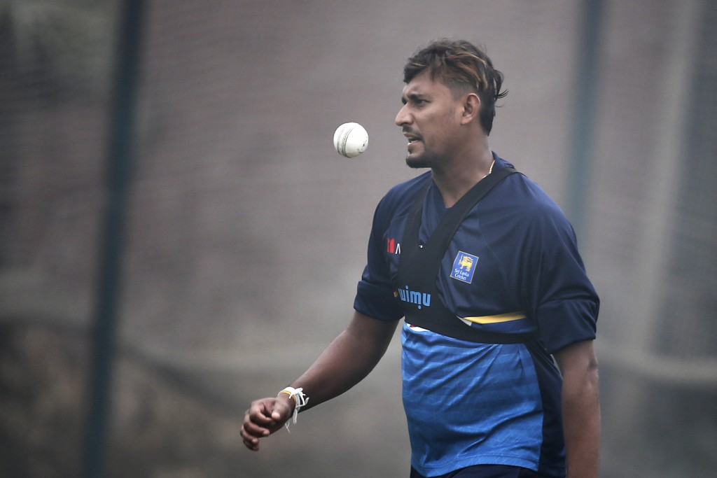 Sri Lanka's Suranga Lakmal juggles the ball during a training session ahead of the Tri-Nation one-day international cricket series in Dhaka, Banglades