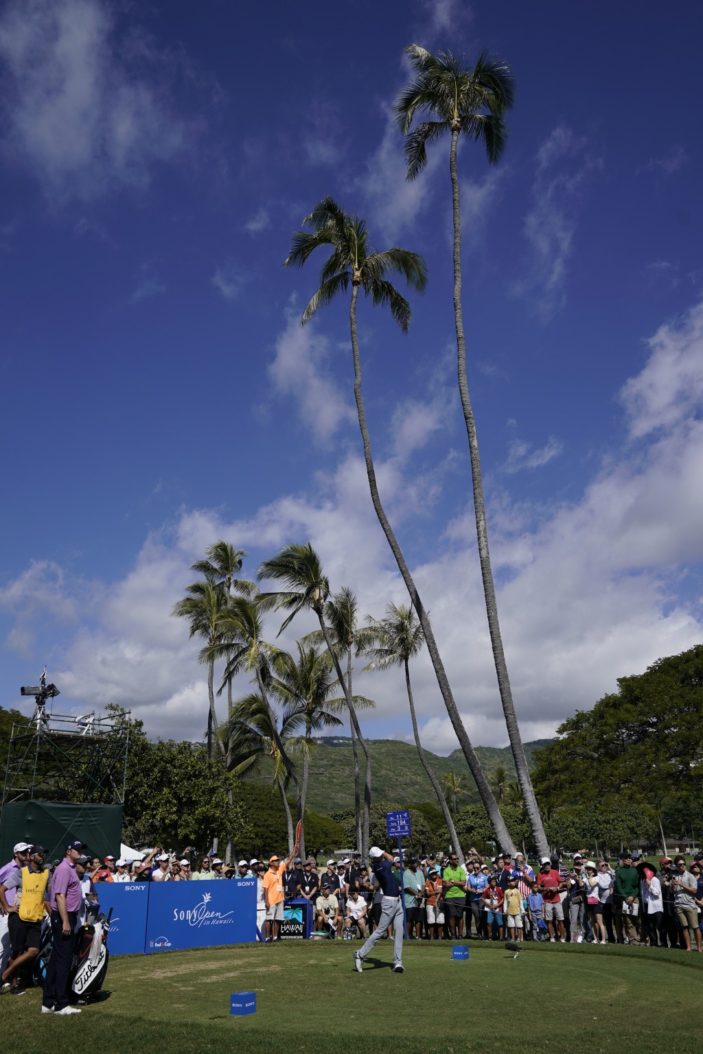 Jordan Spieth tees off on the 11th tee during the third round of the Sony Open golf tournament, Saturday Jan. 13, 2018, in Honolulu. (AP Photo/Marco G