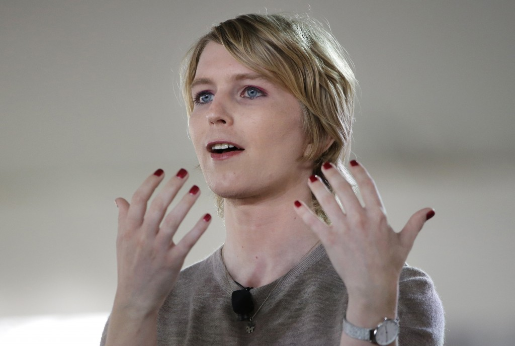 RETRANSMISSION TO CORRECT RANK TO INTELLIGENCE ANALYST - FILE - In this Sunday, Sept. 17, 2017 file photo, Chelsea Manning speaks during the Nantucket