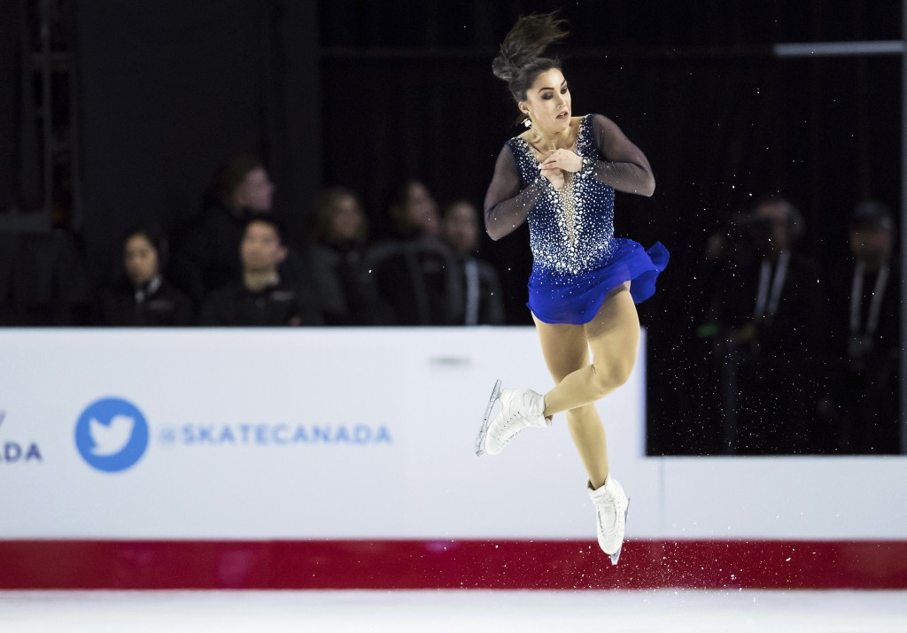 Gabrielle Daleman, of Canada, performs her free program during the senior women's competition at the Canadian Figure Skating Championships in Vancouve