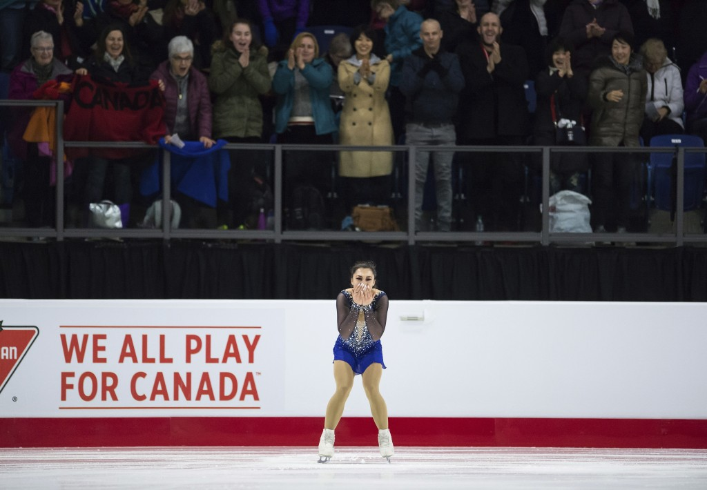 Gabrielle Daleman, of Canada, reacts after performing her free program during the senior women's competition at the Canadian Figure Skating Championsh