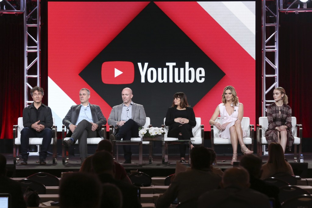 Doug Liman, from left, David Bartis, Gene Klein, Lauren LeFranc, Missy Pyle and Maddie Hasson, participate in the 'Impulse' panel during the YouTube T
