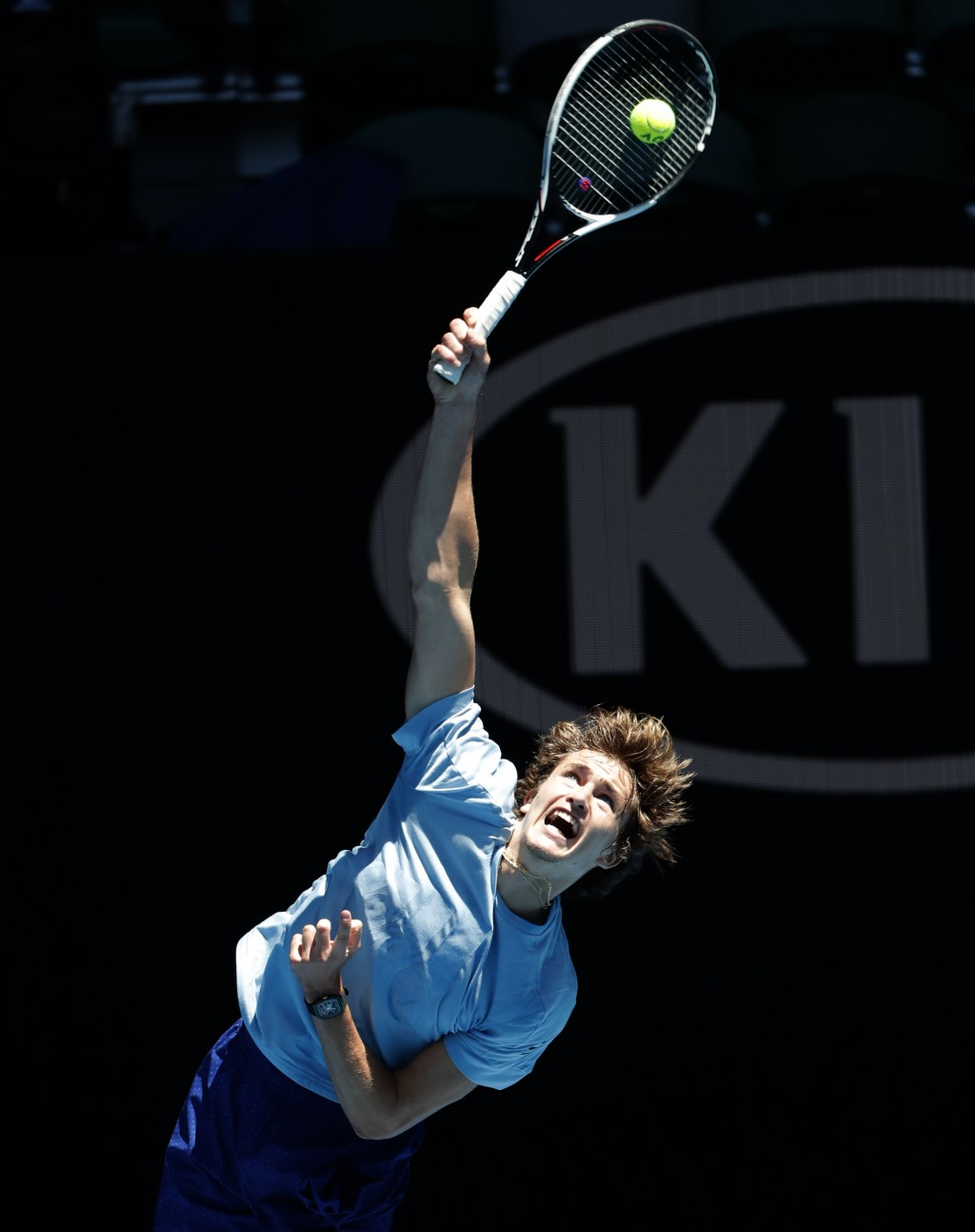 Germany's Alexander Zverev serves during a practice session ahead of the Australian Open tennis championships in Melbourne, Australia, Sunday, Jan. 14