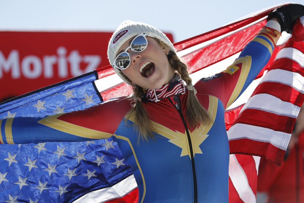 FILE - In this Feb. 18, 2017, file photo, Mikaela Shiffrin, of the U.S., celebrates her gold medal in the women's slalom at the alpine skiing World Ch