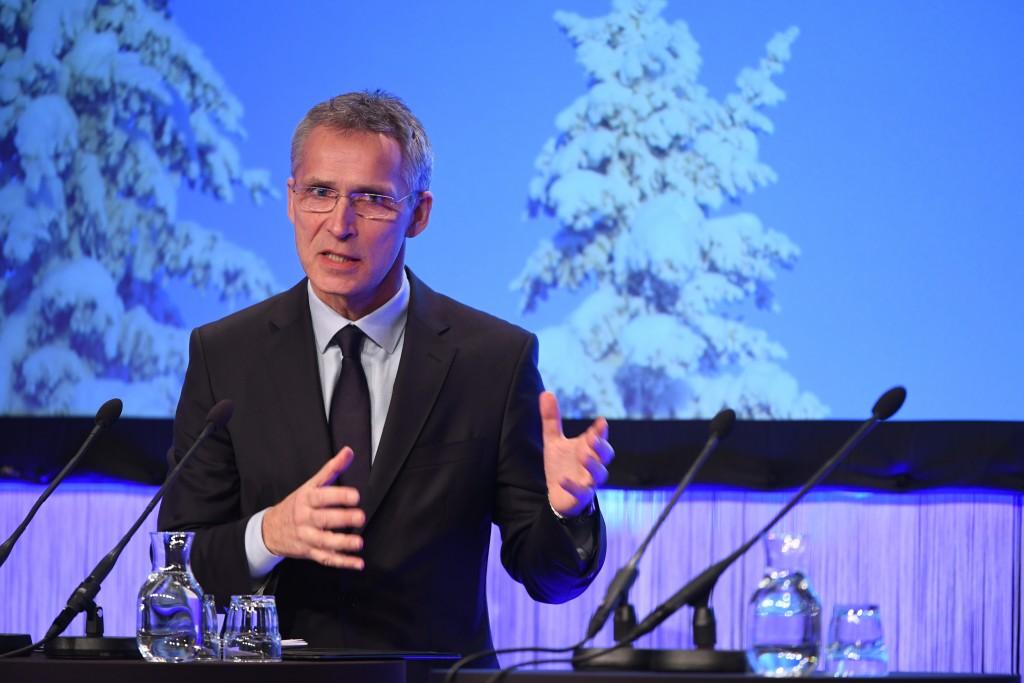 "NATO Secretary General Jens Stoltenberg delivers a keynote speech at the Security Conference ""Folk och Forsvar"" (People and Defense), in Salen, Sweden"