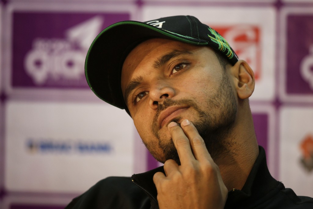 Bangladesh cricket team captain Mashrafe Mortaza gestures during a press conference ahead of the Tri-Nation one-day international cricket series in Dh