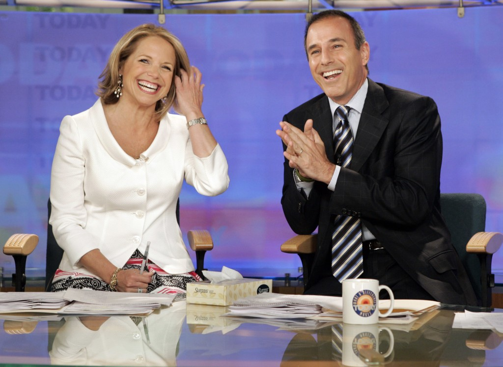 """FILE - In this May 31, 2006 file photo, Katie Couric and Matt Lauer, co-hosts of the NBC Today"""" program, open her farewell broadcast in New York.  Cou"""