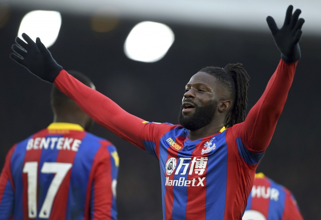 Crystal Palace's Bakary Sako celebrates scoring his side's first goal of the game against Burnley during the English Premier League soccer match at Se