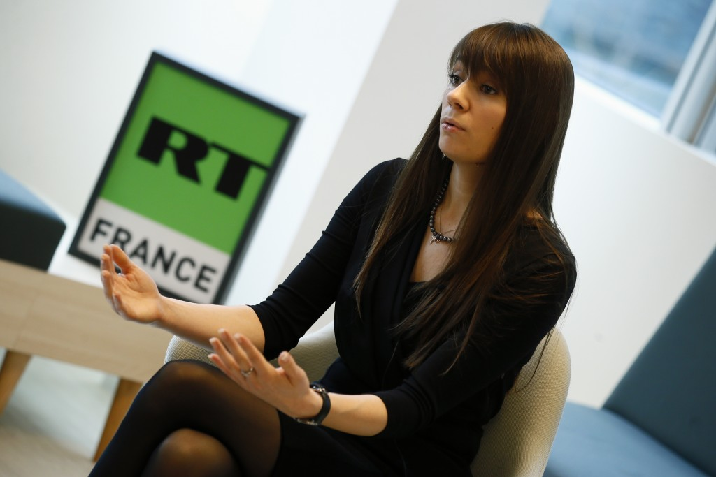 Xenia Fedorova, chief executive of RT France attends an interview with the Associated Press in Paris, Tuesday, Jan. 9, 2018. Russian state broadcaster