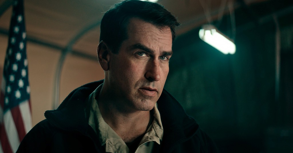 """This image released by Warner Bros. Entertainment shows Rob Riggle in a scene from """"12 Strong."""" (Warner Bros. Entertainment via AP)"""