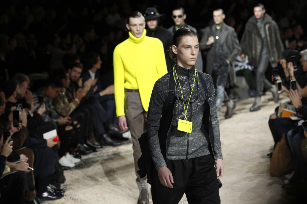 8c0cc72882bb Models wear creations for Louis Vuitton men s Fall-Winter 2018 2019 fashion  collection presented