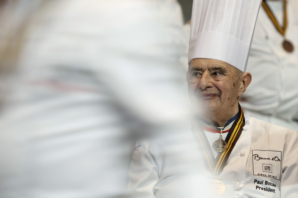 """FILE - In this Jan. 30 2013 file photo, French chef Paul Bocuse attends the """"Bocuse d'Or"""" (Golden Bocuse) trophy, at the 14th World Cuisine contest, i..."""