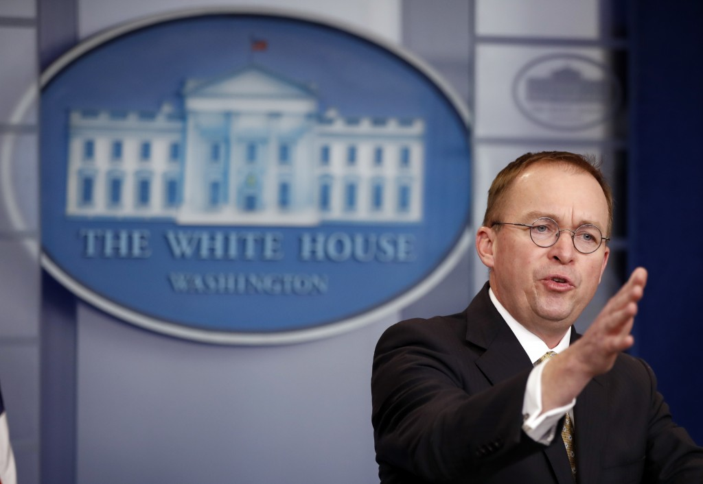 Director of the Office of Management and Budget Mick Mulvaney speaks during a press briefing at the White House Saturday Jan. 20 2018 in Washingto