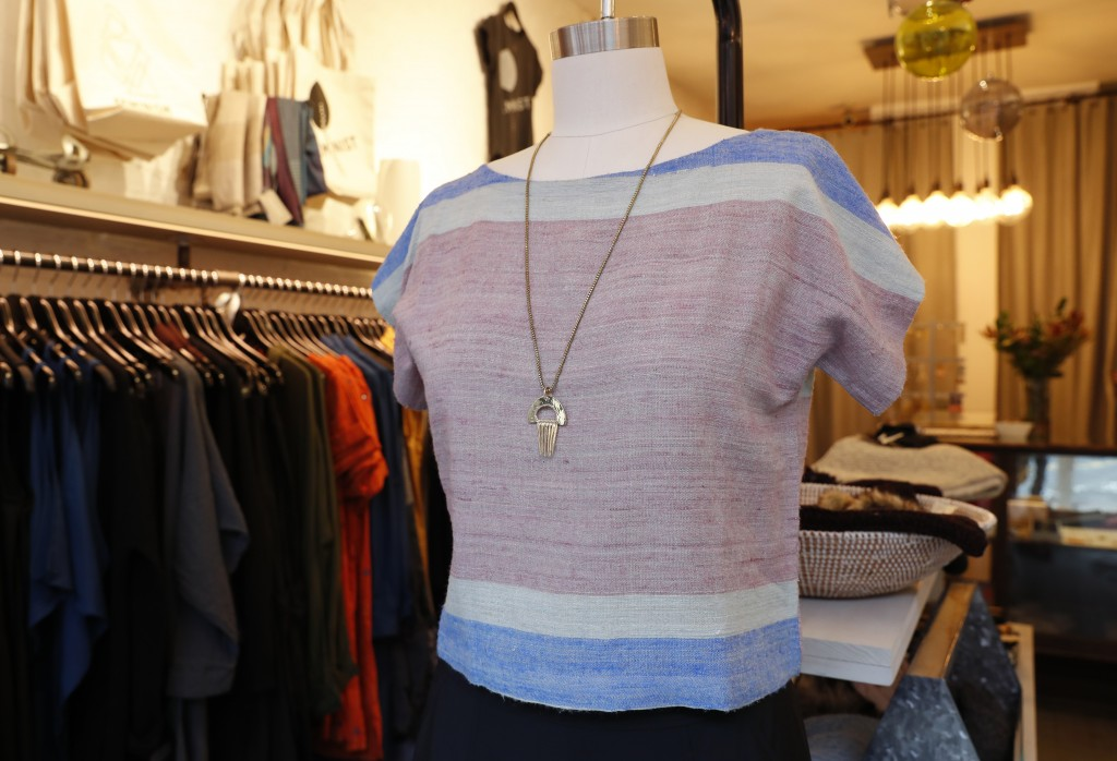 """A """"peace silk"""" cropped top is displayed on a mannequin at Bhoomki, a Brooklyn store specializing in """"ethically-fashioned"""" and hand-crafted clothing an"""