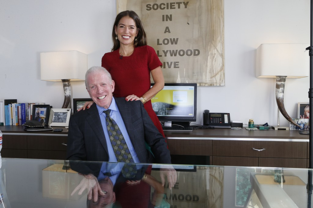 In this Jan. 12, 2018, photo, attorneys Dennis Wasser, seated, and Laura Wasser, pose their Century City office in Los Angeles. On Thursday, Jan. 25, ...