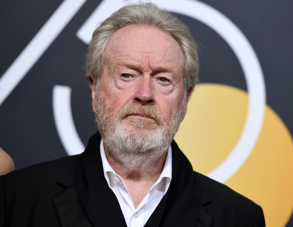 FILE - In this Sunday, Jan. 7, 2018 file photo, film director Ridley Scott arrives at the 75th annual Golden Globe Awards at the Beverly Hilton Hotel,...
