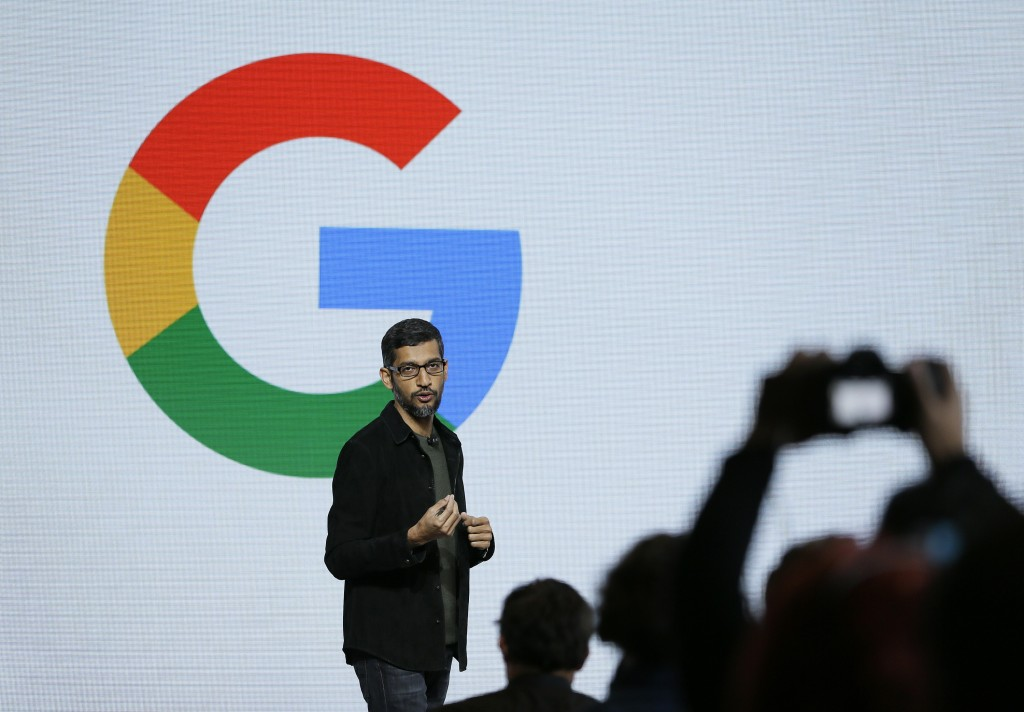 FILE - In this Tuesday, Oct. 4, 2016, file photo, Google CEO Sundar Pichai speaks during a product event in San Francisco. Pichai has declared artific...