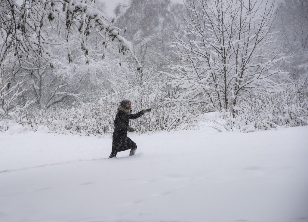 A woman walks through the Botanical Garden during heavy snowfall in Moscow, Russia, Sunday, Feb. 4, 2018. Heavy snow has struck the Moscow region, as