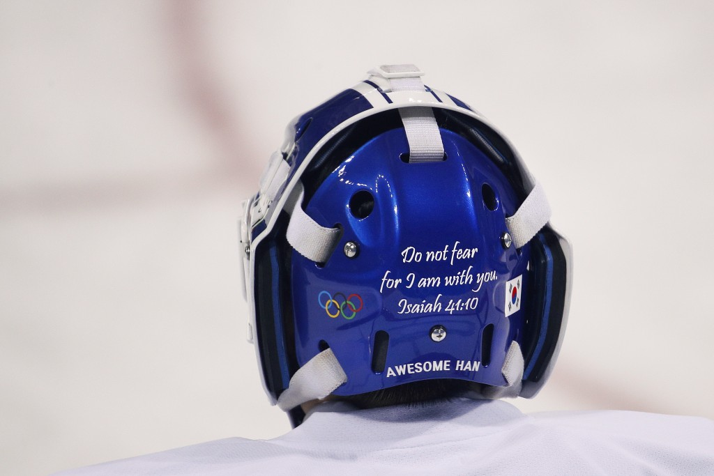 A Bible verse is written on the back of the joint Korean women's ice hockey team goalie Han Dohee's mask during a training session prior to the 2018 W